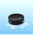 Hockey puck on ice with drops vector image