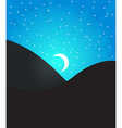 night landcape with moon and stars vector image