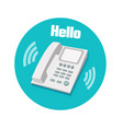 Phone in flat design Landline phone vector image