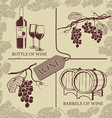 Set symbols on the theme of grapes red wine and vector image