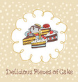 54-3 card with various cupcakes on a beige vector image