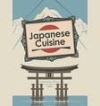 banner for restaurant japanese cuisine with flag vector image vector image