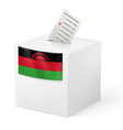 Ballot box with voting paper Malawi vector image