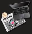 newspaper and mobile phone with latte and laptop vector image