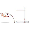 Woman athlete doing high jump vector image