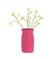 Field wild flower in vase hand drawn cartoon vector image