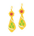 golden and gemstone earrings vector image