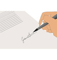 Hand sign contract vector image
