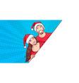 man and woman wearing santa hats advertisement vector image