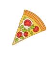 Pizza Slice With Tomato And Broccoli vector image