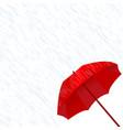 red umbrella in the rain vector image