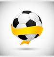 Soccer ball with orange ribbon vector image
