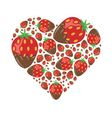 strawberries in chocolate in heart vector image