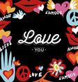 Valentine day retro design with love text vector image