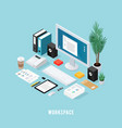colored office workspace isometric composition vector image