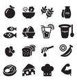 healthy food diet food icons set vector image