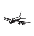 Commercial Jet Plane Airline Woodcut vector image