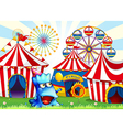 A blue monster near the circus tents vector image