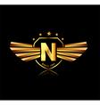 Letter N winged crests logo Alphabet logotype vector image vector image