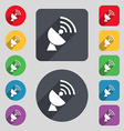 Satellite antenna icon sign A set of 12 colored vector image