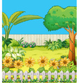 Scene with trees and flowers in backyard vector image