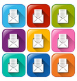 Buttons with envelopes and papers vector image