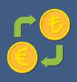 Currency exchange Euro and Turkish Lira vector image