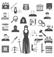 Law And Justice Black Icons Set vector image