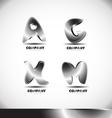 Metal 3d alphabet letter logo set vector image