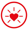 shiny love heart rounded icon vector image