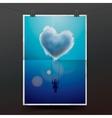 Little girl on a swing under heart shape cloud vector image