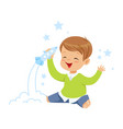 cute little boy playing with rocket toy kids vector image