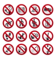 a set of signs prohibiting vector image
