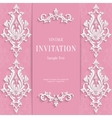 Pink Vintage Invitation Card with 3d Floral vector image vector image