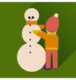 flat icon with long shadow child and snowman vector image