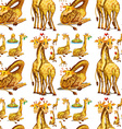 Seamless giraffe in different actions vector image vector image