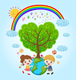 children earth rainbow vector image vector image