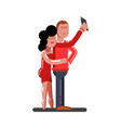 couple making selfie vector image