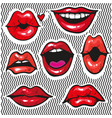 fashion patch badges with lips pop art vector image