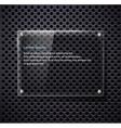 glass frame on metallic surface vector image