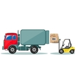 Truck and Loader with Box Shipment Icons Set vector image