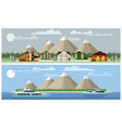 two background mountain landscapes vector image