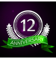 Twelve years anniversary celebration with silver vector image