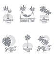 Set of black and white logo templates with palm vector image