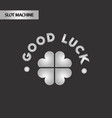 black and white style good luck clover vector image