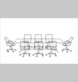 conference table with chairs in sketch style vector image