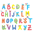 Funny alphabet for kids with flowers vector image