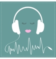 White headphones with cord in shape of cardiogram vector image