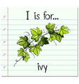Flashcard alphabet I is for ivy vector image