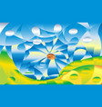 abstraction summer mountain and river on a vector image